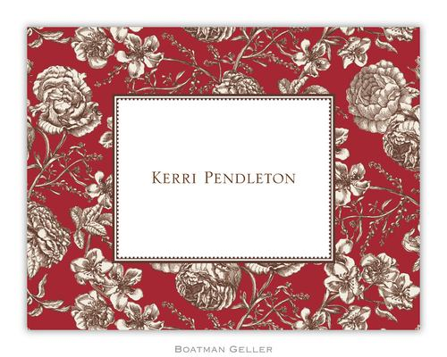 Floral Toile Red Foldover Note from Boatman Geller