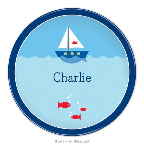 Personalized Melamine Sailboat Plate from Boatman Geller
