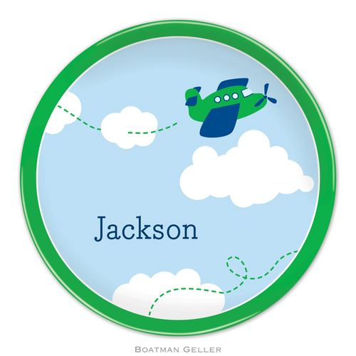 Personalized Melamine Airplane Plate from Boatman Geller