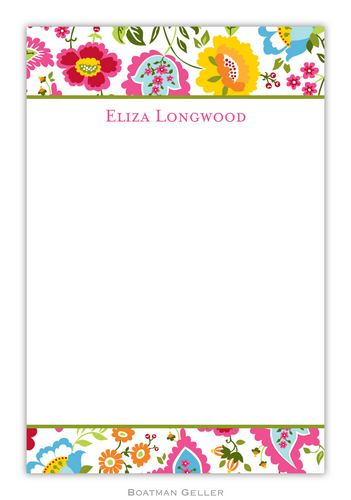 Bright Floral Personalized Notepads and Note Sheets from Boatman Geller