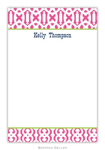 Cameron Raspberry Personalized Notepads and Note Sheets from Boatman Geller