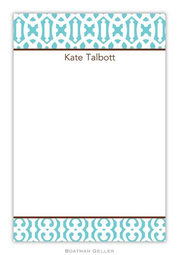 Cameron Teal Personalized Notepads and Note Sheets from Boatman Geller