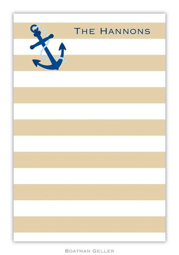 Stripe Anchor Personalized Notepads and Note Sheets from Boatman Geller