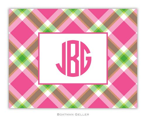 Ashley Plaid Pink Foldover Note from Boatman Geller