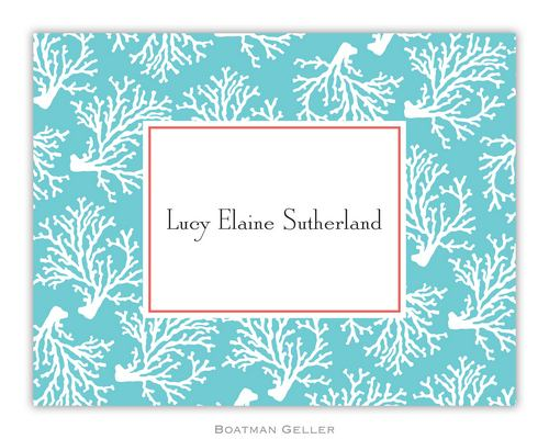 Coral Repeat Teal Foldover Note from Boatman Geller