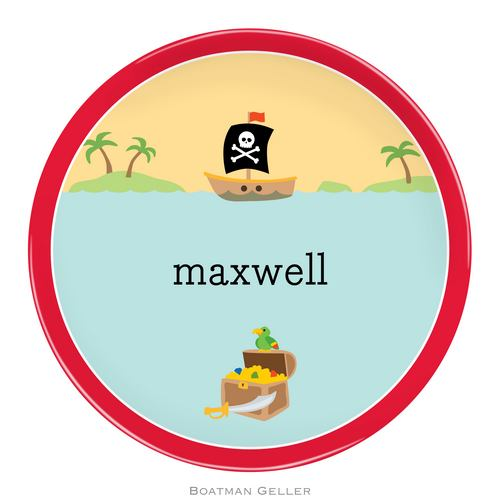 Personalized Melamine Pirate Plate from Boatman Geller