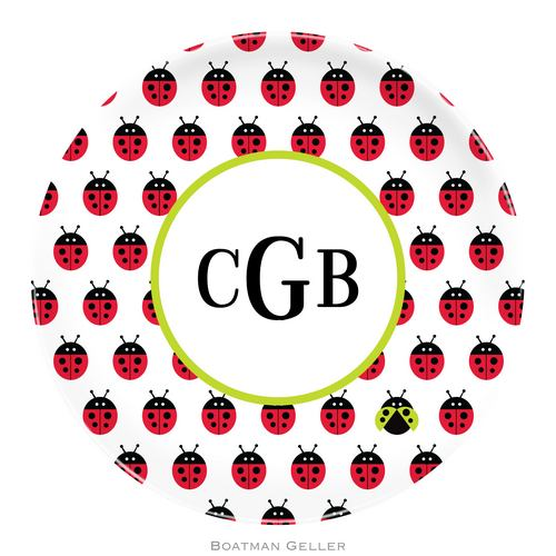 Personalized Melamine Ladybug Repeat Plate from Boatman Geller