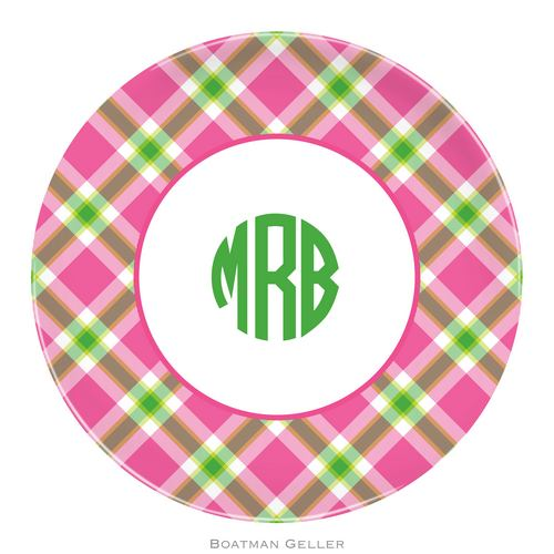 Personalized Melamine Ashley Plaid Pink Plate from Boatman Geller