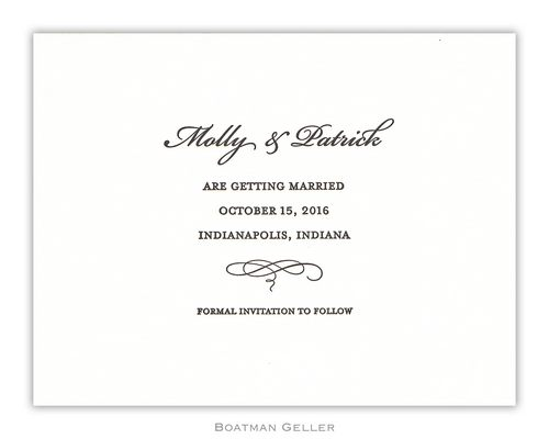 Letterpress Plain Small Flat Invitation from Boatman Geller