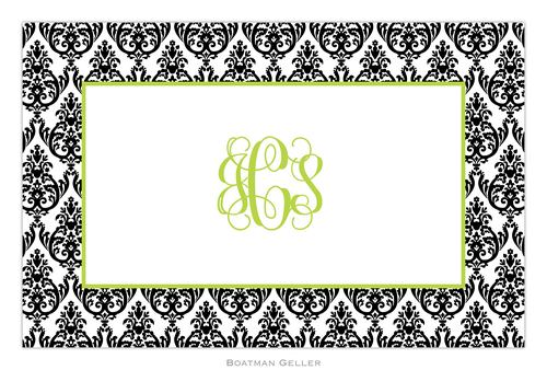 Personalized Madison Damask White with Black Placemat from Boatman Geller