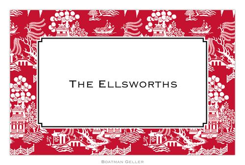 Personalized Chinoiserie Red Placemat from Boatman Geller