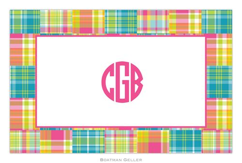 Personalized Madras Patch Bright Placemat from Boatman Geller
