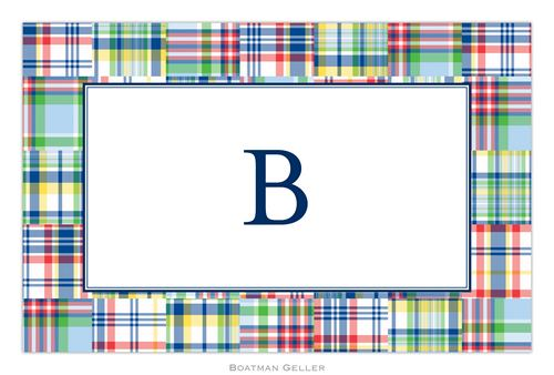Personalized Madras Patch Blue Placemat from Boatman Geller