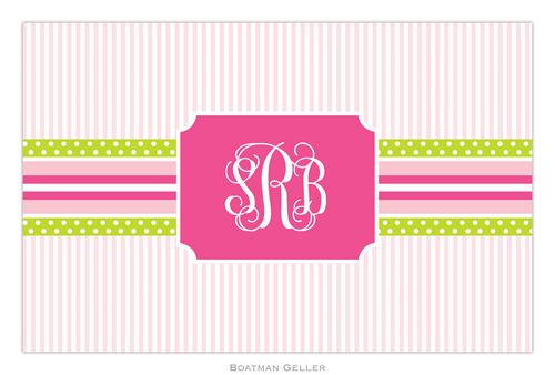Personalized Grosgrain Ribbon Pink and Green Placemat from Boatman Geller