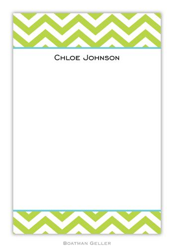 Chevron Lime Personalized Notepads and Note Sheets from Boatman Geller