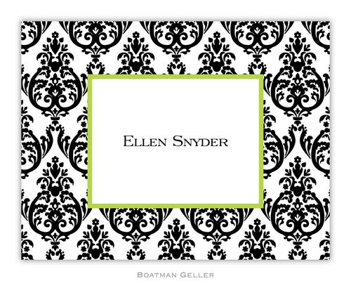 Madison Damask Black Foldover Note from Boatman Geller