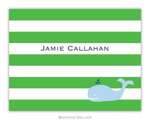 Stripe Whale Green Foldover Note from Boatman Geller