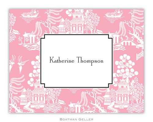 Chinoiserie Pink Foldover Note from Boatman Geller