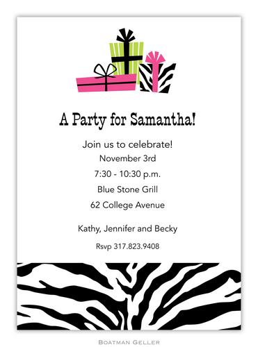 Zebra Presents Invitation from Boatman Geller-Zebra Presents Invitation and Announcements from Boatman Geller
