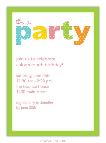 Party Dot Green Invitation from Boatman Geller