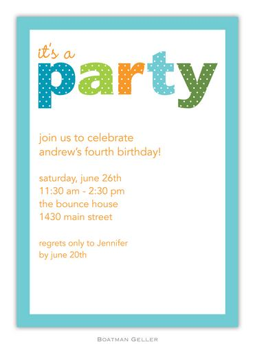 Party Dot Teal Invitation from Boatman Geller-Party Dot Teal Invitation and Announcements from Boatman Geller