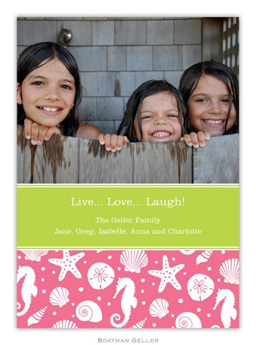 Jetties Pink Holiday 1-Photo Card from Boatman Geller