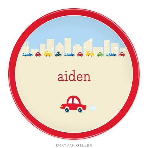 Personalized Melamine Cars Plate from Boatman Geller
