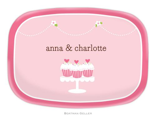 Personalized Melamine Heart Cupcakes Platter from Boatman Geller