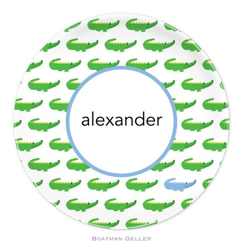 Personalized Melamine Alligator Repeat Blue Plate from Boatman Geller
