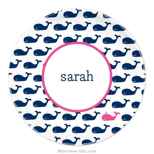 Personalized Melamine Whale Repeat Navy Plate from Boatman Geller