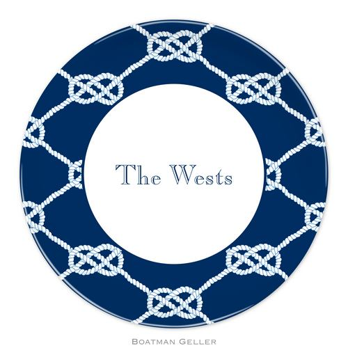 Personalized Melamine Nautical Knot Navy Plate from Boatman Geller