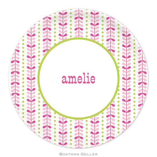 Personalized Melamine Bright Vine Pink & Green Plate from Boatman Geller