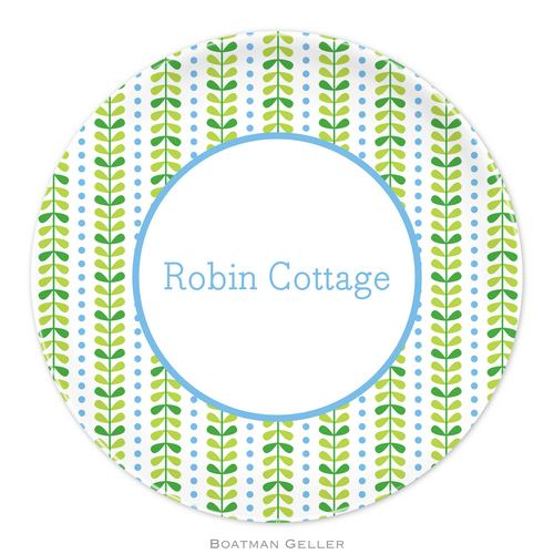 Personalized Melamine Bright Vine Green & Blue Plate from Boatman Geller