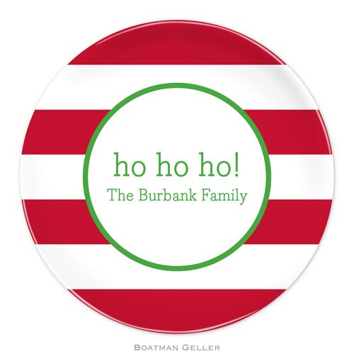 Personalized Melamine Awning Stripe Red Holiday Plate from Boatman Geller