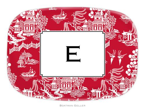 Personalized Melamine Chinoiserie Red Platter from Boatman Geller