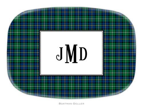 Personalized Melamine Black Watch Plaid Holiday Platter from Boatman Geller