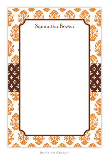 Beti Orange Personalized Notepads and Note Sheets from Boatman Geller