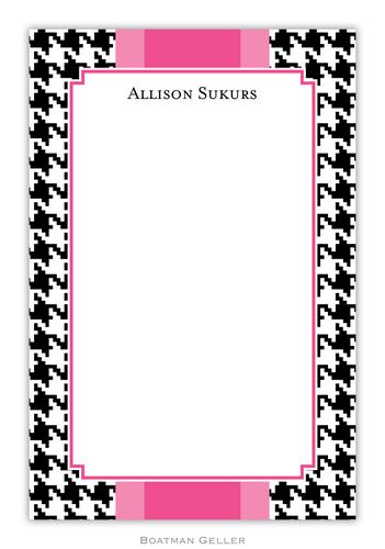 Alex Houndstooth Black Personalized Notepads and Note Sheets from Boatman Geller