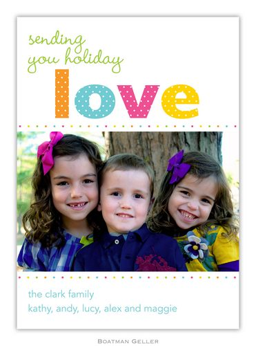 Love Dot Holiday 1-Photo Card from Boatman Geller