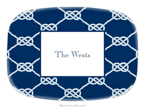 Personalized Melamine Nautical Knot Navy Platter from Boatman Geller