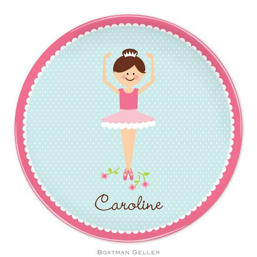 Personalized Melamine Ballerina Portrait Plate from Boatman Geller