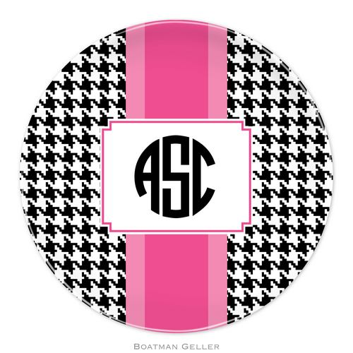Personalized Melamine Alex Houndstooth Black Plate from Boatman Geller