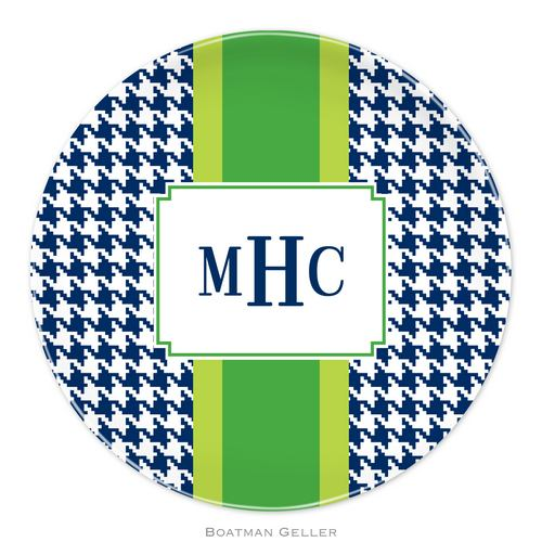 Personalized Melamine Alex Houndstooth Navy Plate from Boatman Geller