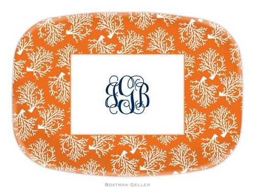 Personalized Melamine Coral Repeat Platter from Boatman Geller