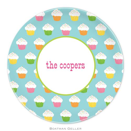 Personalized Melamine Rainbow Cupcakes Plate from Boatman Geller