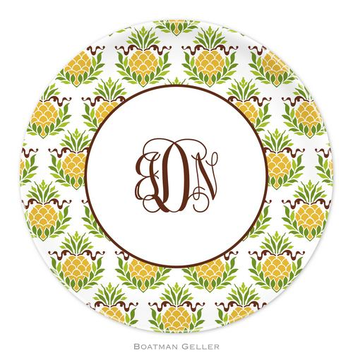Personalized Melamine Pineapple Repeat Plate from Boatman Geller