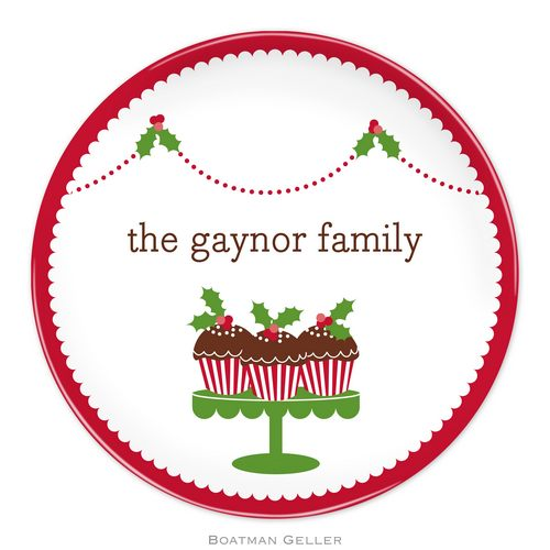 Personalized Melamine Holiday Cupcakes Plate from Boatman Geller