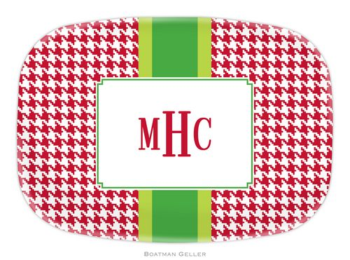 Personalized Melamine Alex Houndstooth Red Holiday Platter from Boatman Geller