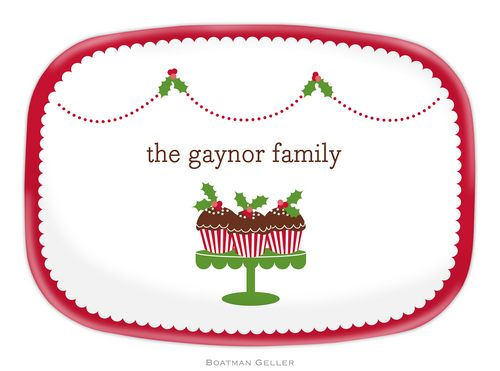 Personalized Melamine Holly Cupcakes Holiday Platter from Boatman Geller-personalized melamine platters from boatman geller, Personalized Melamine Holly cupcakes Holiday Platters from Boatman Geller
