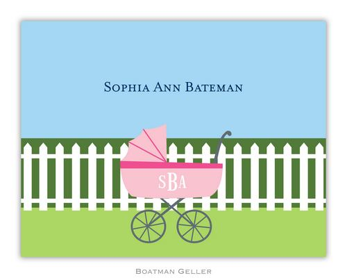 Charming Pram Pink Foldover Note from Boatman Geller